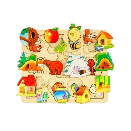 Рамка-вкладыш Нескучные игры Где чей домик? (7993), 22 дет. нескучные игры набор для росписи часы с циферблатом домик дни113