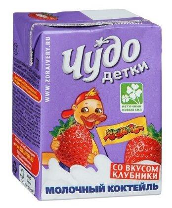 Молочный коктейль Чудо детки со вкусом клубники 3.2%, 200 мл