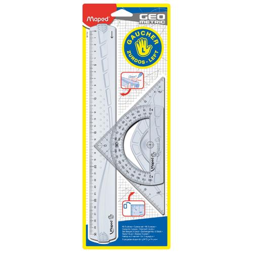 Купить Maped Набор чертежный Geometric для левшей (897118) прозрачный, Чертежные инструменты