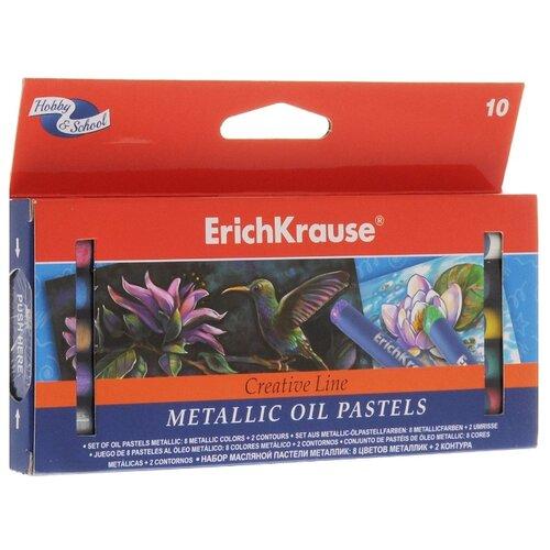 ErichKrause Масляная пастель ArtBerry Metallic 8 цветов + 2 контура 39155, Пастель и мелки  - купить со скидкой
