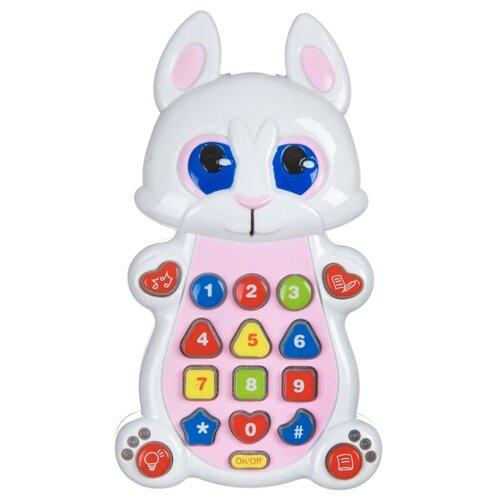 развивающая игрушка bondibon автомобиль корабль разноцветный Развивающая игрушка BONDIBON Умный телефон Зайка ВВ4547 белый/розовый