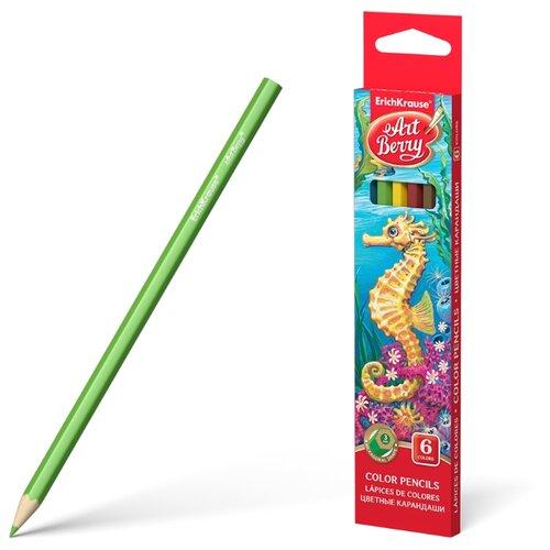 ErichKrause Цветные карандаши ArtBerry 6 цветов (32877) erichkrause пластиковые цветные карандаши шестигранные artberry 18 цветов 46429