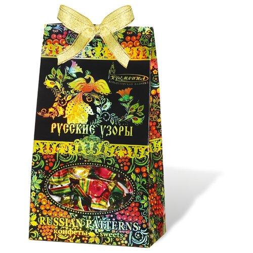 Набор конфет Кремлина Русские Узоры вишня в шоколадной глазури 230 г чернослив шоколадный кремлина самолет в резной деревянной шкатулке 400 г
