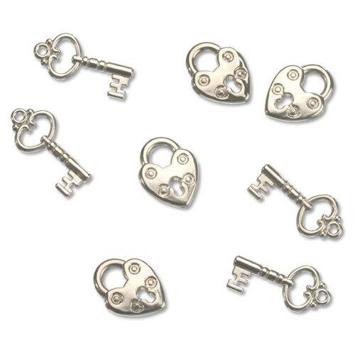 Купить Набор декоративных элементов Ключ и замок 15 x 20 мм, 13 x 25 мм металл, Efco, Украшения и декоративные элементы