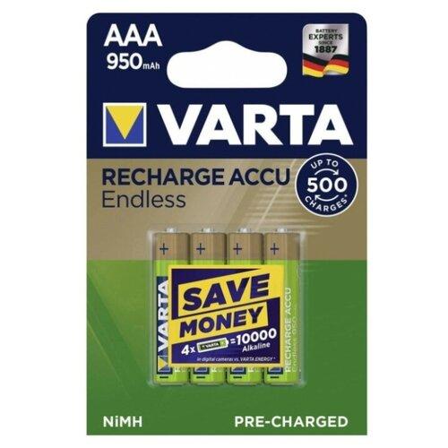 Фото - Аккумулятор Ni-Mh 950 мА·ч VARTA Recharge Accu Endless AAA 950 4 шт блистер аккумулятор ni mh 2600 ма·ч varta recharge accu power 2600 aa 4 шт блистер