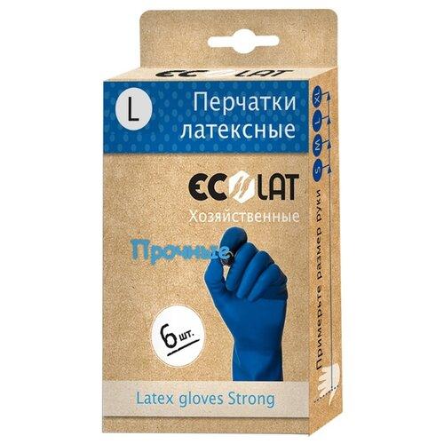 Перчатки Ecolat хозяйственные прочные, 3 пары, размер L, цвет синий