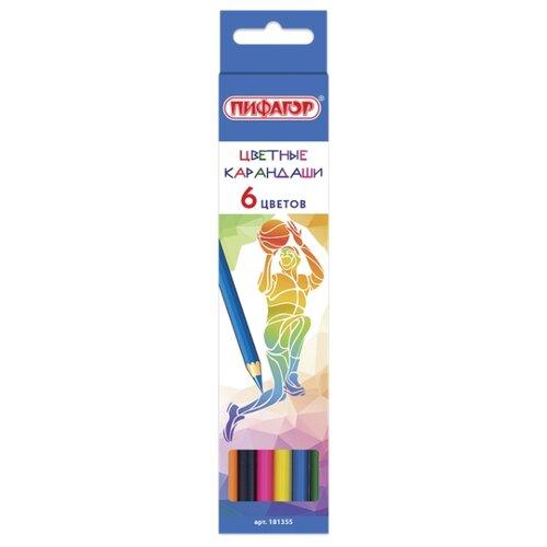 Купить Пифагор Карандаши цветные Быстрее! Выше! Сильнее! 6 цветов (181355), Цветные карандаши