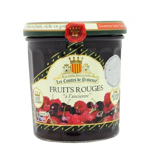 Джем Les Comtes de Provence из красных ягод (клубника, вишня, малина, красная смородина), банка 370 г