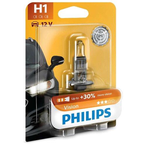 Лампа автомобильная галогенная Philips Vision 12258PRB1 H1 12V 55W 1 шт. лампа галогенная philips h1 vision plus 12v 55w комплект 2шт 12258vps2