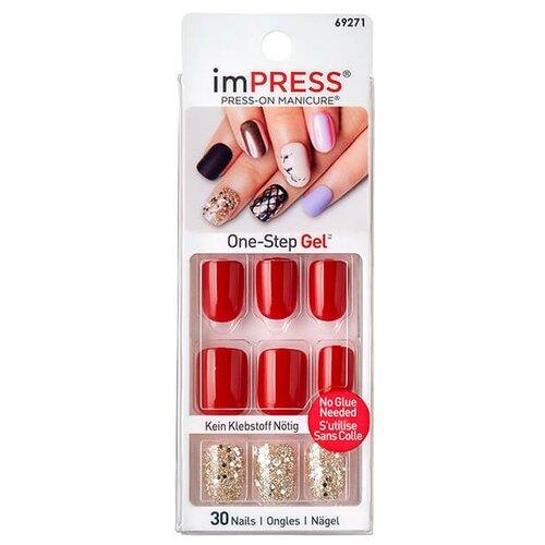 Накладные ногти KISS imPRESS Press-On Manicure короткая длина красное золото 30 шт. недорого