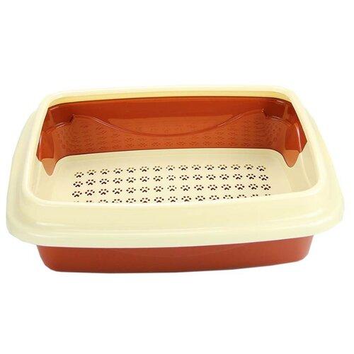 Туалет-лоток для кошек Dogman Триплекс средний 44х34х15 см коричневый/бежевый