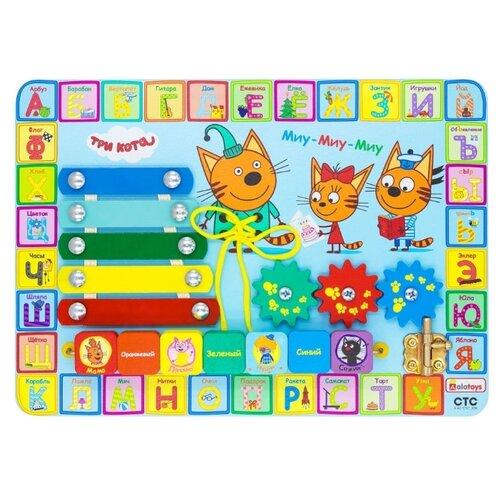 Бизиборд Alatoys Три кота Учим буквы разноцветный недорого