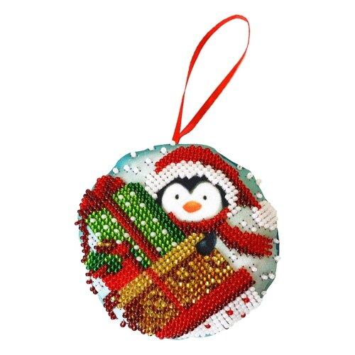 Созвездие Набор для вышивания бисером новогодняя игрушка Подарки 8,5 х 8,5 см (БИ-105)