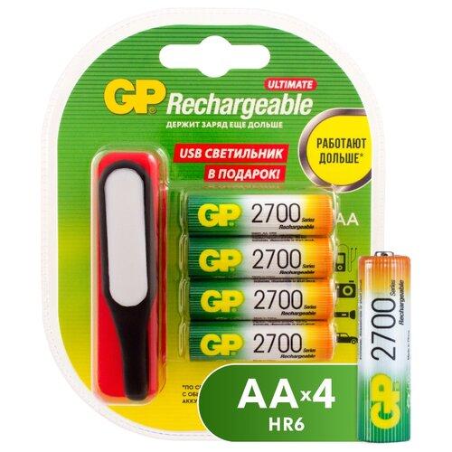Фото - Аккумулятор Ni-Mh 2700 мА·ч GP Rechargeable 2700 Series AA + USB светильник, 4 шт. gp gpu811 и 4 аккум aa hr6 2700mah адаптер gpu811gs270aahc 2cr4