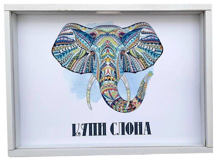 Копилка Grifeldecor Купи слона, МДФ, 30x2.5x21 см, белый белый