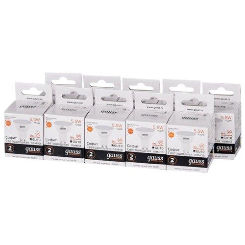 Упаковка светодиодных ламп 10 шт gauss 13616, GU10, R50, 5.5Вт упаковка светодиодных ламп 10 шт gauss 13626 gu10 r50 5 5вт