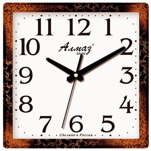 Часы настенные кварцевые Алмаз M31 коричневый/белый часы настенные кварцевые алмаз c51 c54 коричневый белый