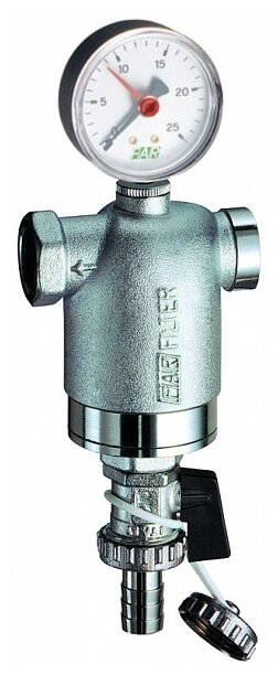 Фильтр механической очистки FAR FA 3948 муфтовый (ВР/ВР), латунь, с манометром