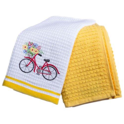 Arya Набор полотенец Provense 2 Велосипед кухонное белый, желтый