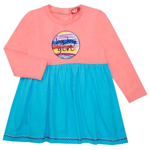 Платье Let's Go размер 74, персиково-розовый/голубой