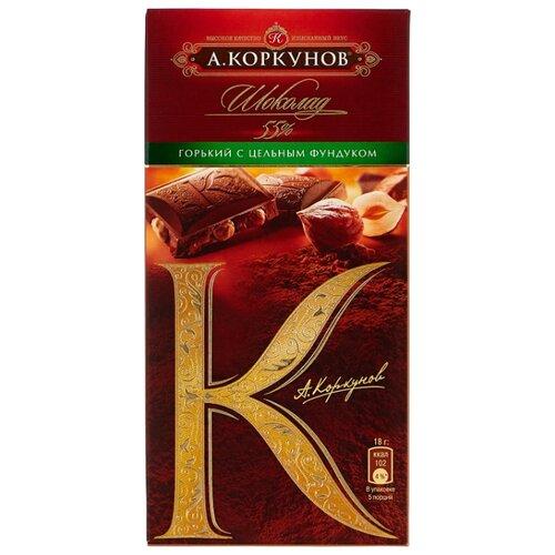 шоколад а коркунов горький с миндалем 55% 90 г Шоколад Коркунов горький с цельным фундуком, 90 г