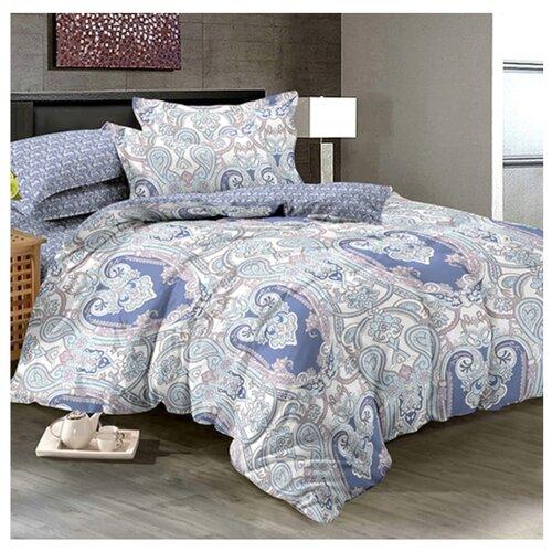 Постельное белье семейное Letto PL57 70х70 см, перкаль фиолетовый/голубой кпб семейное голубой попугай сирень постельное белье с рисунком