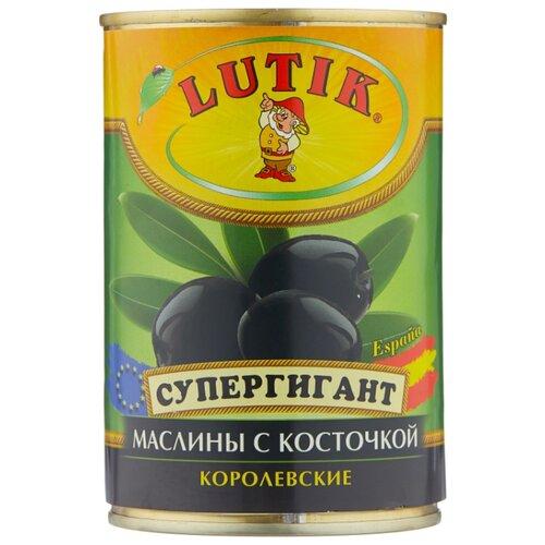 Lutik Супергигант Маслины с косточкой королевские в рассоле, жестяная банка 425 мл бояринъ маслины с косточкой жестяная банка 314 мл