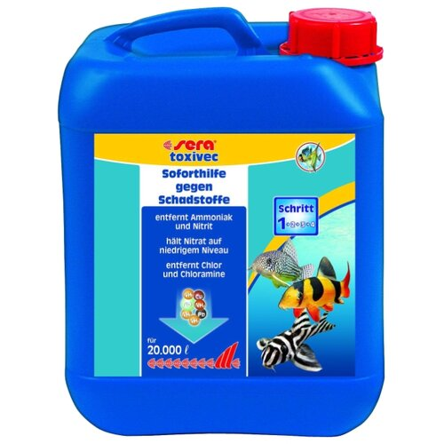 Sera Toxivec средство для профилактики и очищения аквариумной воды, 5 л кондиционер для воды sera toxivec 100мл