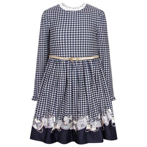 Купить Платье Mayoral размер 134, синий/белый/гусиная лапка, Платья и сарафаны
