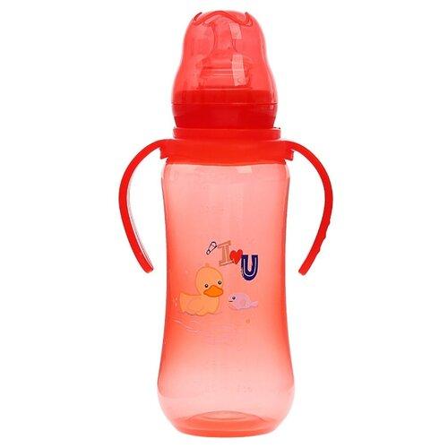Крошка Я Бутылочка для кормления цветная с ручками, 280 мл с рождения, красный, Бутылочки и ниблеры  - купить со скидкой