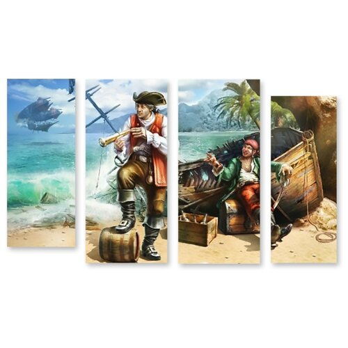 Модульная картина на холсте Пираты Карибского моря 150x92 см пираты карибского моря