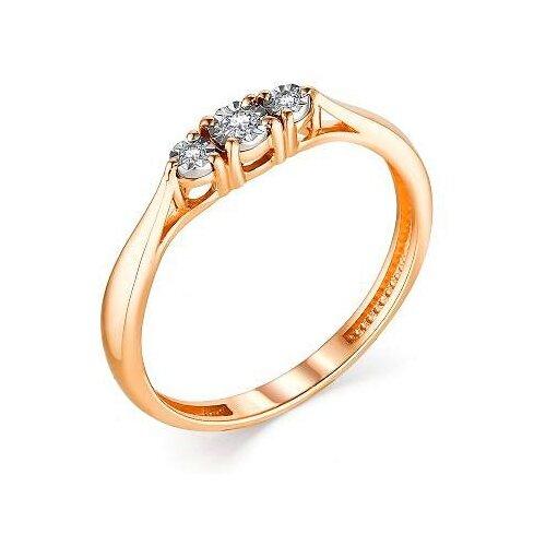 АЛЬКОР Кольцо с 3 бриллиантами из красного золота 13292-100, размер 18 алькор кольцо с 3 бриллиантами из красного золота 13552 100 размер 18