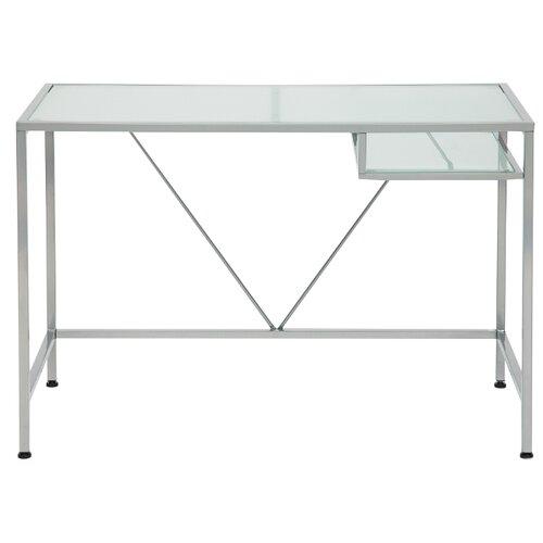 Компьютерный стол TetChair WRX-11, 110х52 см, цвет: стекло матовое/серый каркас