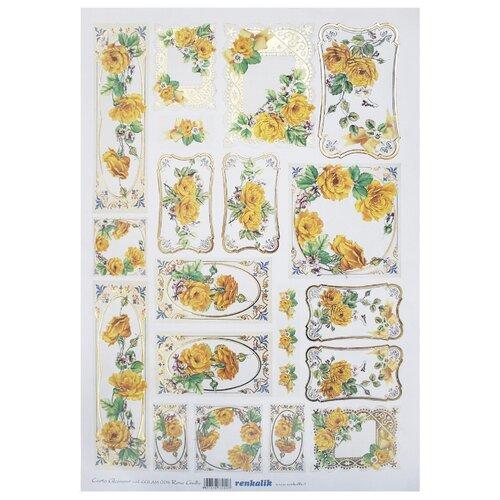 Декупажная карта Renkalik с позолотой Желтые розы, 35x50 см