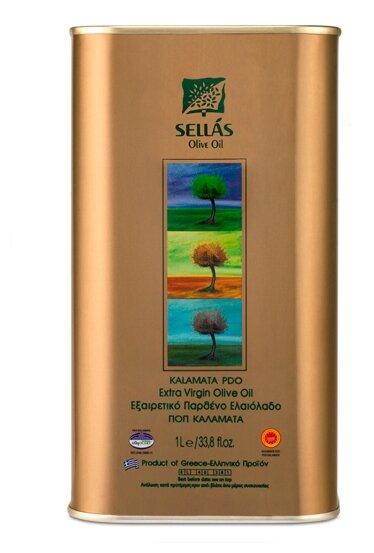 SELLAS Масло оливковое Extra Virgin P.D.O. Kalamata, жесть