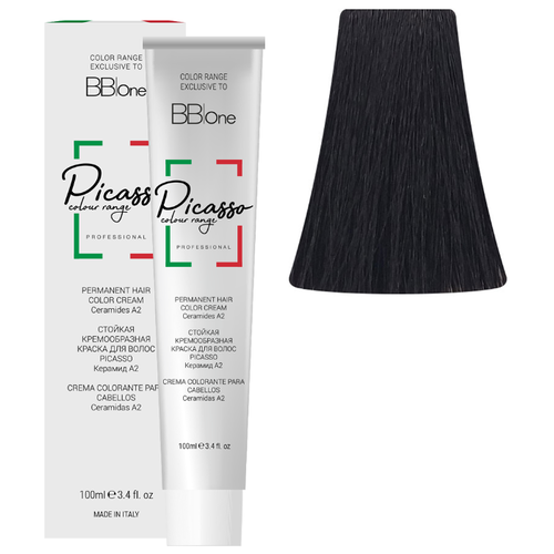 BB One Picasso Colour Range Перманентная крем-краска, 100 мл, 1.0 интенсивный натуральный черный bb one picasso colour range перманентная крем краска 100 мл 8 0 интенсивный натуральный светлый блонд