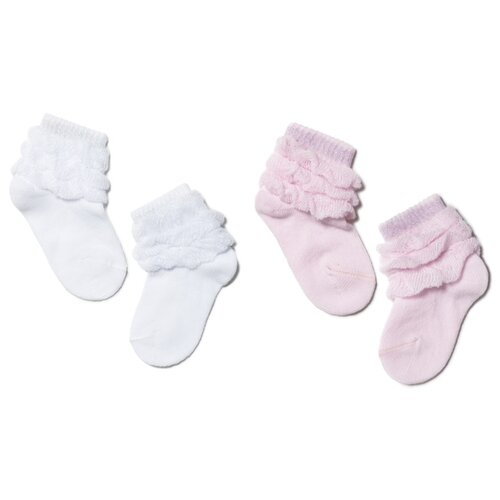 Носки Conte-kids комплект из 2 пар, размер 8, белый/светло-розовый