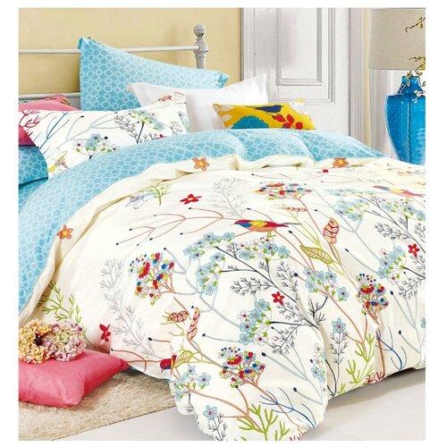 Постельное белье 1.5-спальное Селтекс Европа 1266, сатин белый/голубойКомплекты<br>