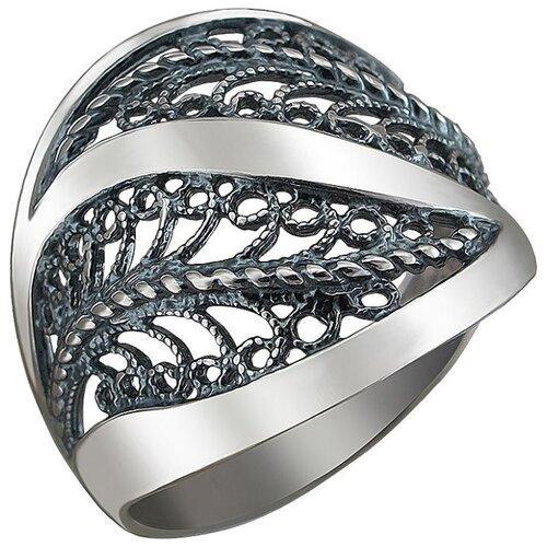 Эстет Кольцо из чернёного серебра Л9К051450Ч, размер 18.5