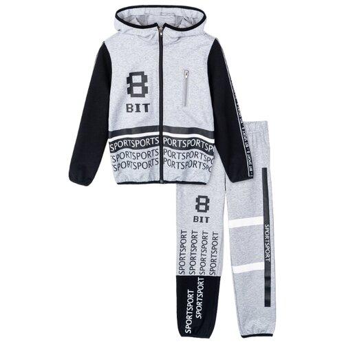Спортивный костюм playToday размер 104, серый/черный/белый