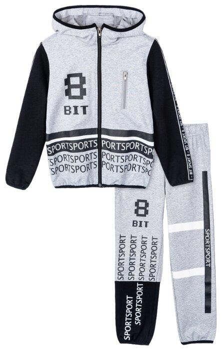 Спортивный костюм playToday размер 110, серый/черный/белый