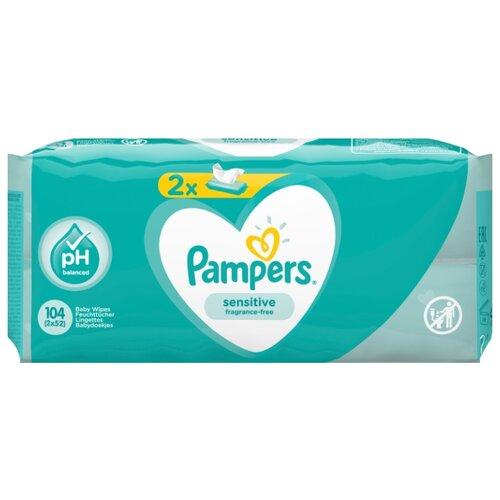Влажные салфетки Pampers Sensitive, липучка, 104 шт.