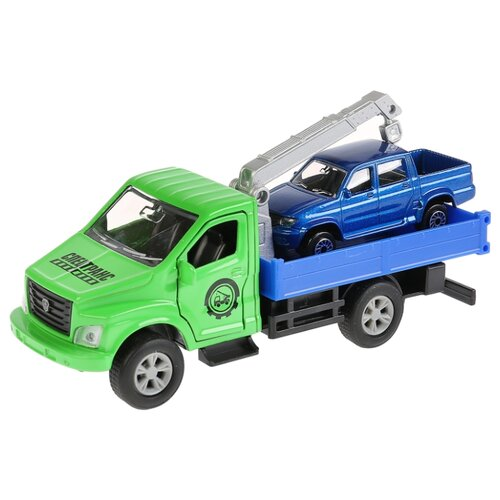 Набор машин ТЕХНОПАРК ГАЗ Газон Next (SB-18-23-G+UP(BU)-WB) зеленый/синий