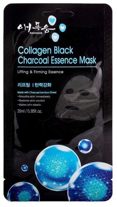 Aepwoom тканевая маска угольная с коллагеном