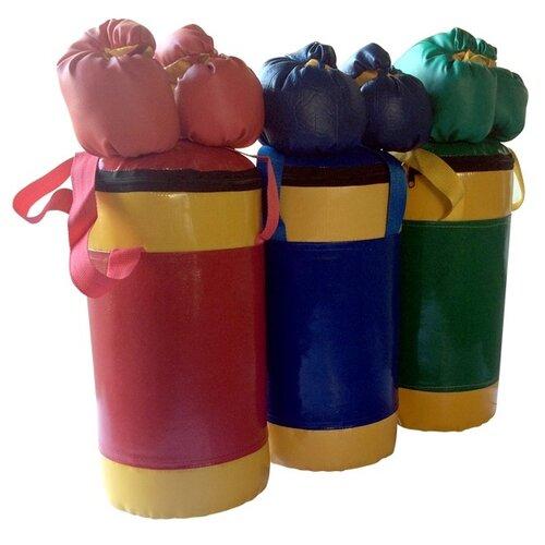 Набор боксерский детский КМС № 2 (мешок боксерский 5 кг + перчатки + трос) синий/желтый