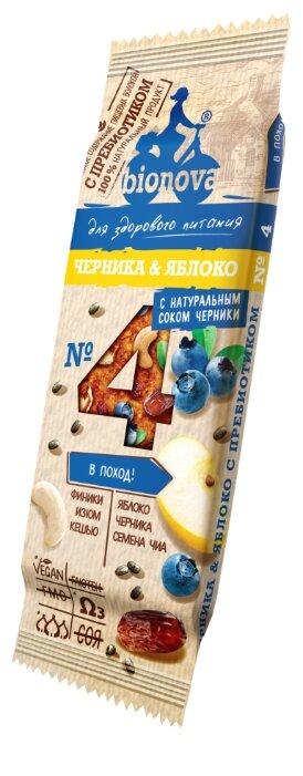 Фруктовый батончик BIONOVA №4 без сахара с пребиотиком Черника & Яблоко, 35 г