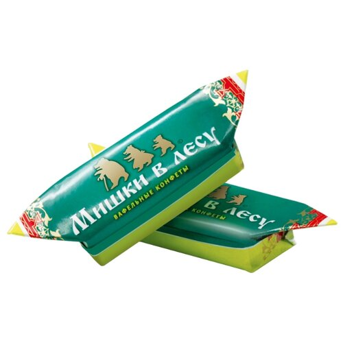 Конфеты Победа вкуса Мишки в лесу вафельные с начинкой в горьком шоколаде, коробка 1500 г