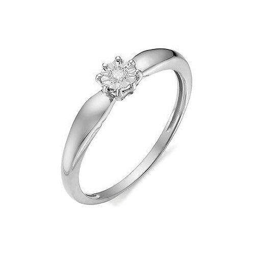 АЛЬКОР Кольцо с 1 бриллиантом из белого золота 11971-200, размер 17 алькор кольцо с 1 бриллиантом из белого золота 12869 200 размер 17 5
