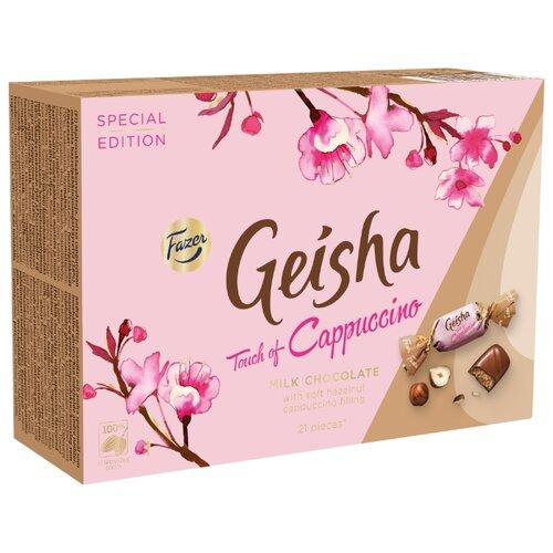 Набор конфет Fazer Geisha из молочного шоколада с начинкой из тертого ореха и вкусом капучино 150 г цена 2017