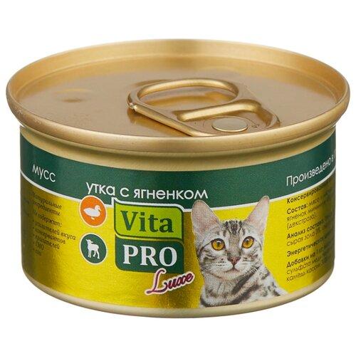 Корм для кошек Vita PRO 1 шт. Мяcной мусс Luxe для кошек, утка с ягненком 0.085 кг корм для кошек vita pro мяcной мусс luxe для стерилизованных кошек свинина 0 085 кг 1 шт